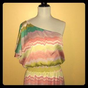 Jessica Simpson one shoulder maxi dress sz 12 NWT